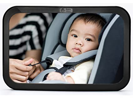 Back Seat Mirror - Rear View Baby Car Seat Mirror by Baby & Mom - Wide Convex Shatterproof Glass and Fully Assembled - Crash Tested and Certified for Safety