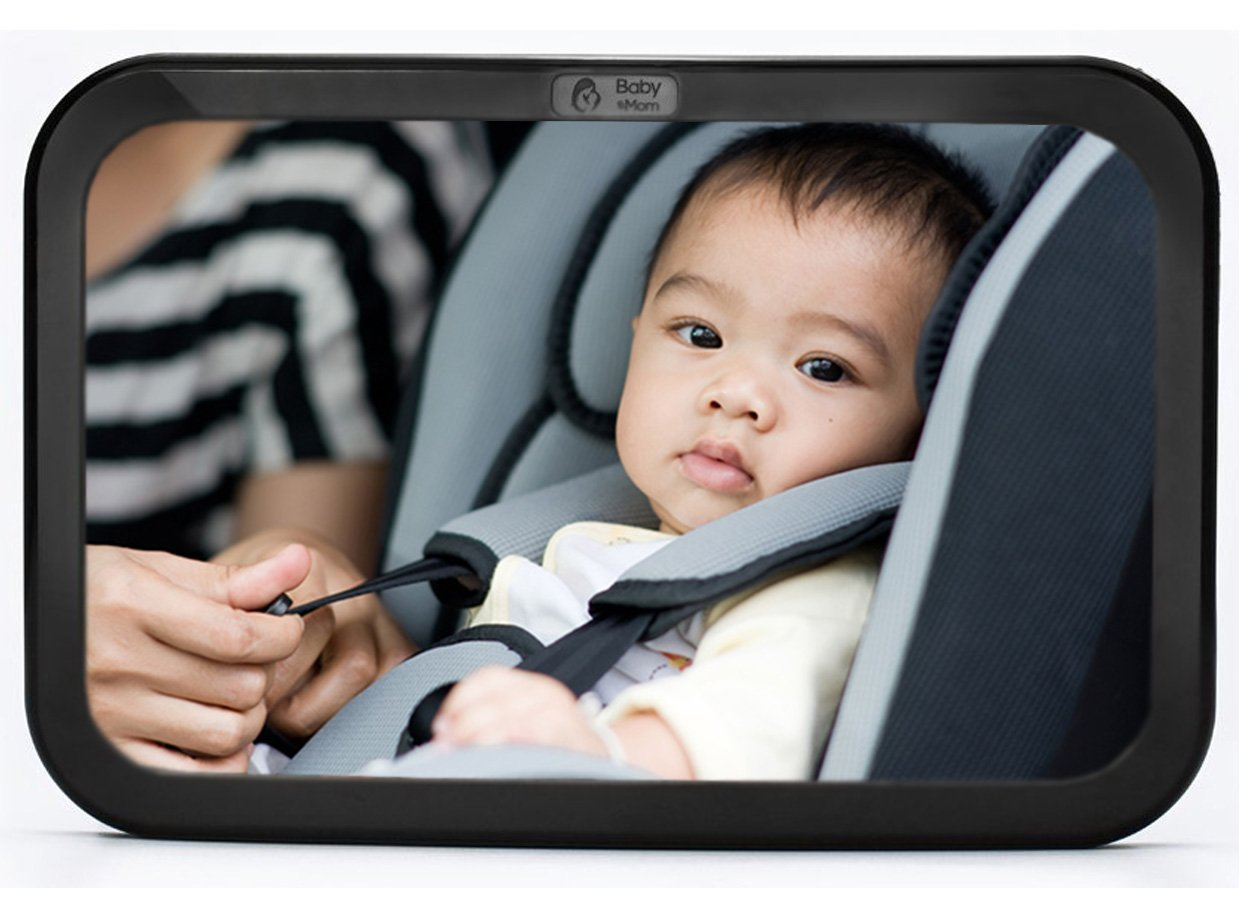 Baby & Mom Back Seat Baby Mirror - Rear View Baby Car Seat Mirror Wide Convex Shatterproof Glass and Fully Assembled - Crash Tested and Certified for Safety by Baby & Mom