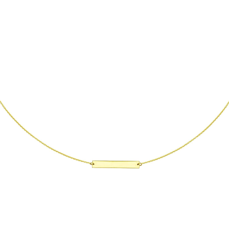 14 Kイエローゴールドチョーカーネックレスwithバー16インチに調節可能 B076VQTBMR