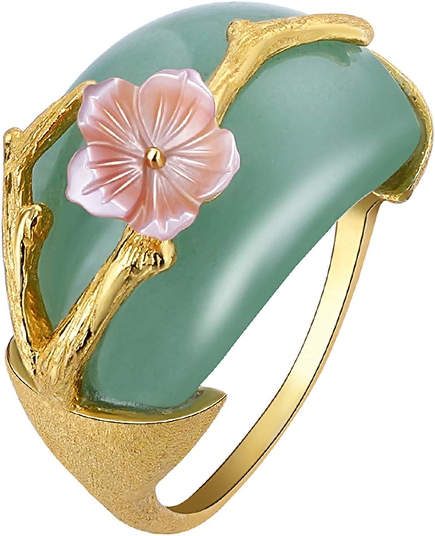 Lotus Fun S925 Anillo de Plata de Ley con Flor de Ciruelo Natural aventurina Hecha a Mano Joya ¨²nica para Mujeres y ni?as