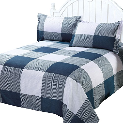 JessyHome Plaid Duvet Cover Queen Size, Blue White Color Block Bedding Set Comforter Cover,Ultra Soft Brushed Microfiber,Reversible Bedding Collection, 3 Pieces includes 2 Pillow Shams
