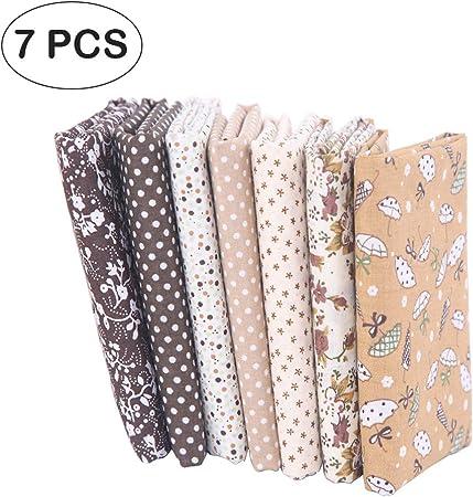 7 piezas de telas de algodón paquete de tela 50x50cm para patchwork costura DIY Sin diseño repetido flores impresas (marrón): Amazon.es: Hogar