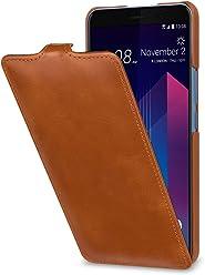 StilGut UltraSlim Case, Custodia Flip Case per HTC U11+ in Vera Pelle, Cognac