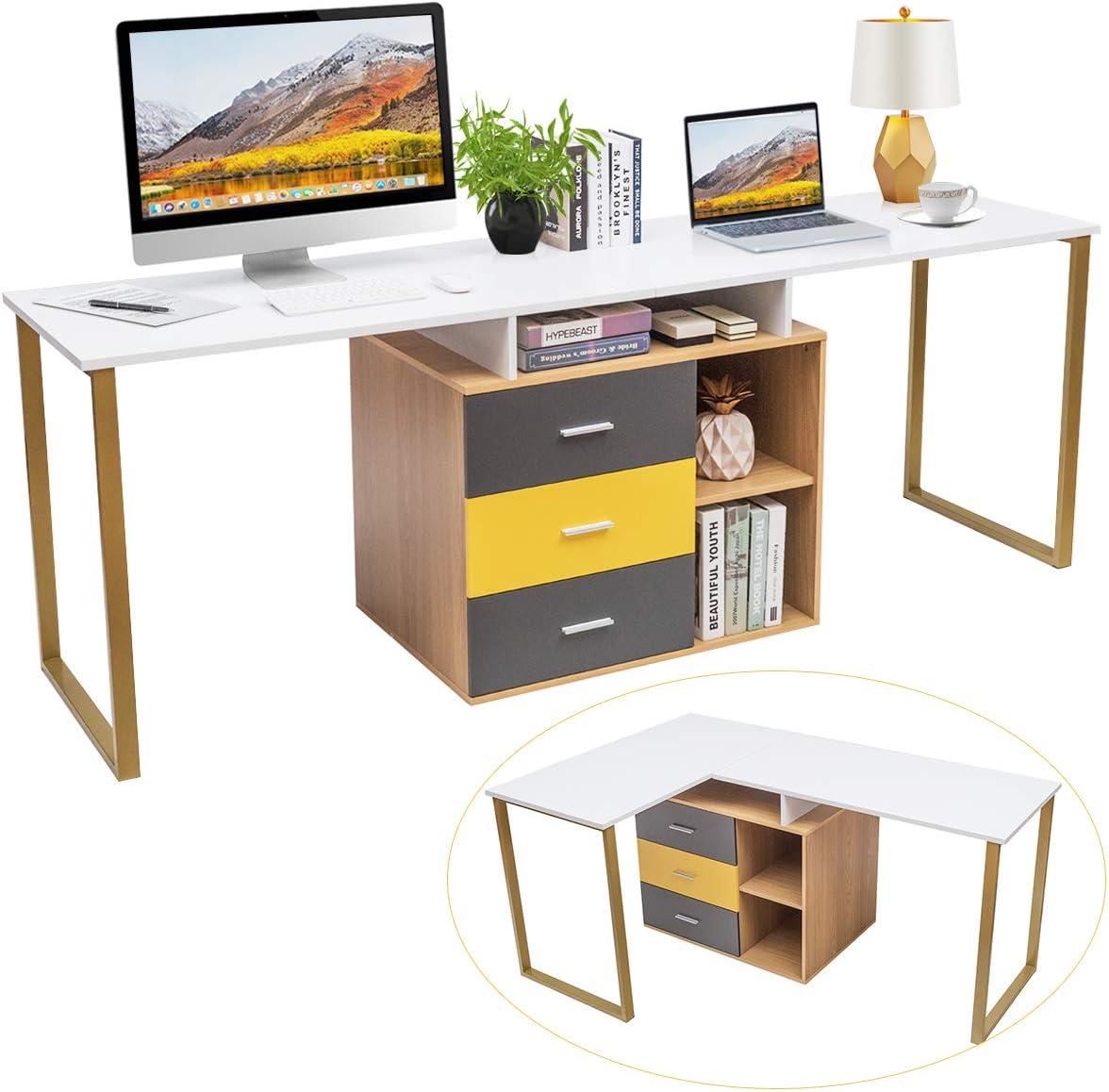 Tangkula 87 inch 2-Person Desk Double Computer Desk