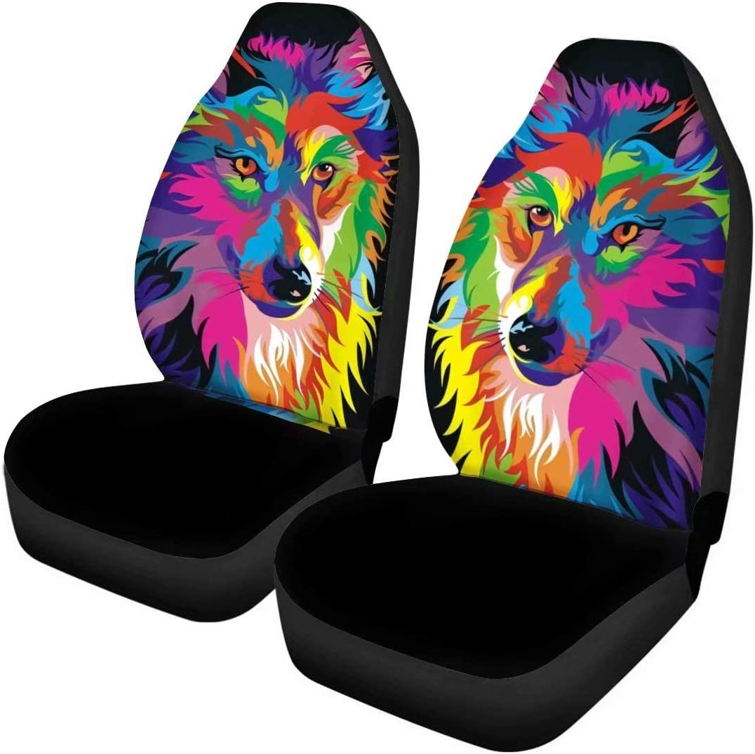 GIFTPUZZ 2PC Set Cute Cartoon Cat Printed Car Seat Covers Front Seats Only for Women Black Seat Cover Automotive Accessories Interior Anti-Slip Driver Seat Cover Universal Protect for Car,SUV /& Truck