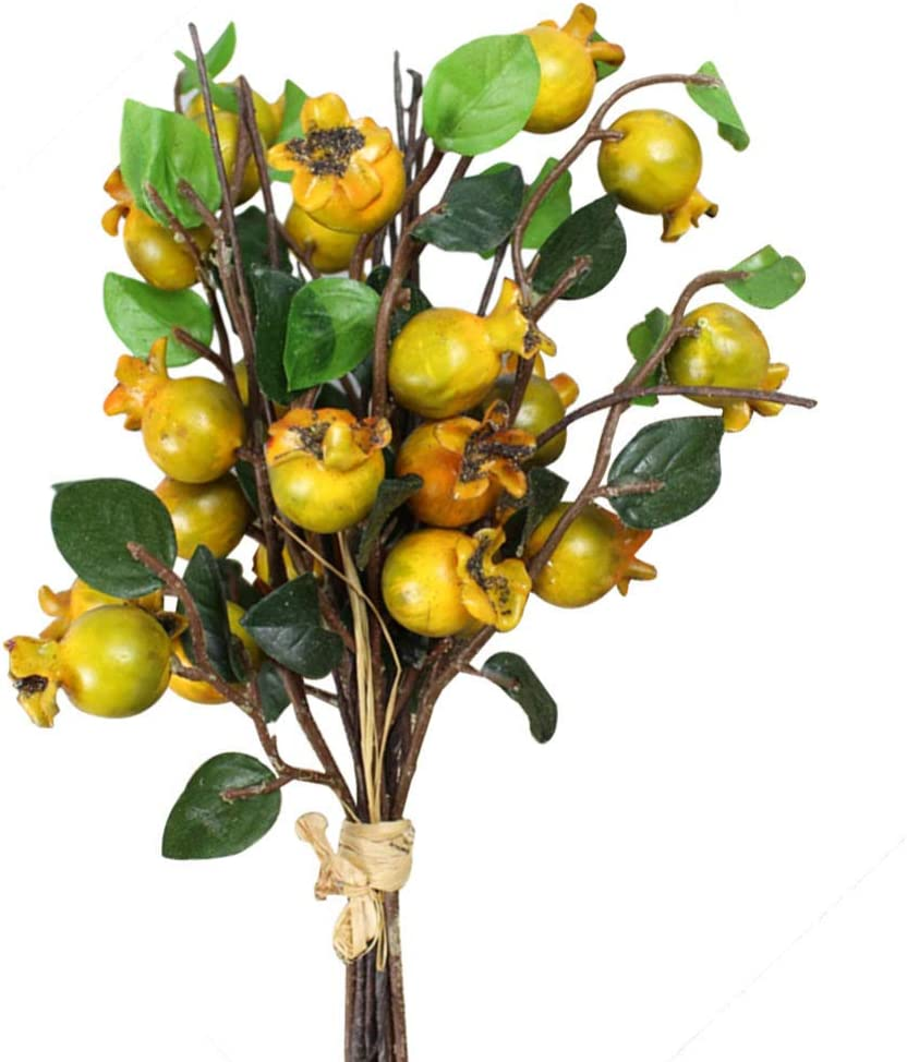 Artibetter Artificial Rosehip Berries Fake Berries Decor Pomegranate Bouquet Alternative to Christmas Holly Berries Wedding Farmhouse Decor - 5 Groups (Yellow)