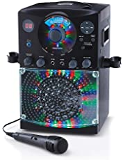 Singing Machine SML385BTBK Bluetooth Karaoke System with LED Disco Lights, CD+G, USB, and Microphone, Black [Amazon Exclusive]