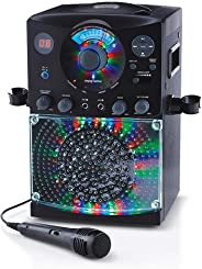 Singing Machine SML385UBK Bluetooth Karaoke System with LED Disco Lights, CD+G, USB, and Microphone, Black