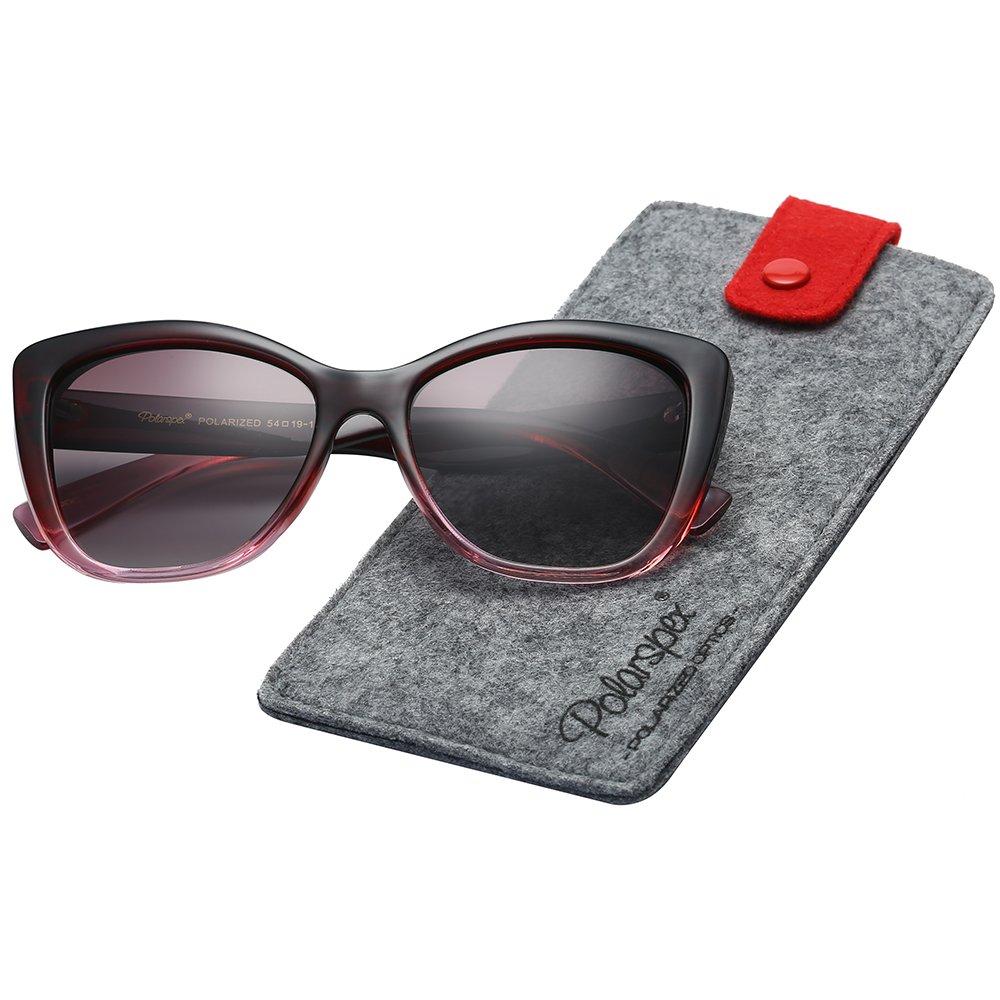 Polarspex Polarized Women's Vintage Square Jackie O Cat Eye Fashion Sunglasses Smoke) PSX03
