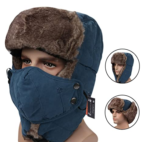 CyberDyer Russian Style Winter Trooper Hat Warm Hunting Hat Ear Flap Chin  Strap With Windproof Face 0947d3afc71