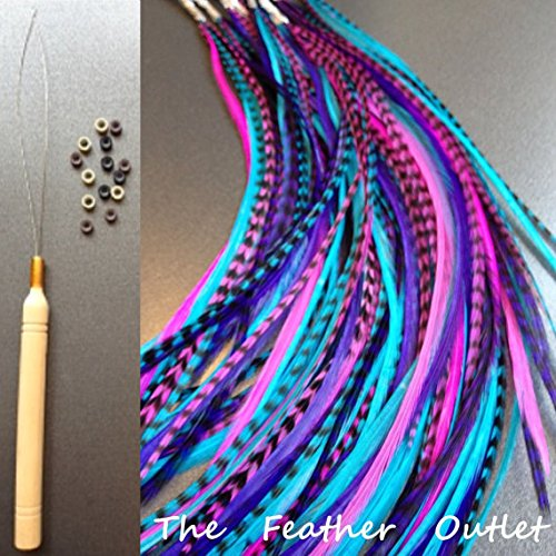 10 Hair Feathers and Beads, 100% Real Rooster Feather Hair Extensions, Long Grizzly, Whiting Grizzly saddle long bulk real B1 KIT