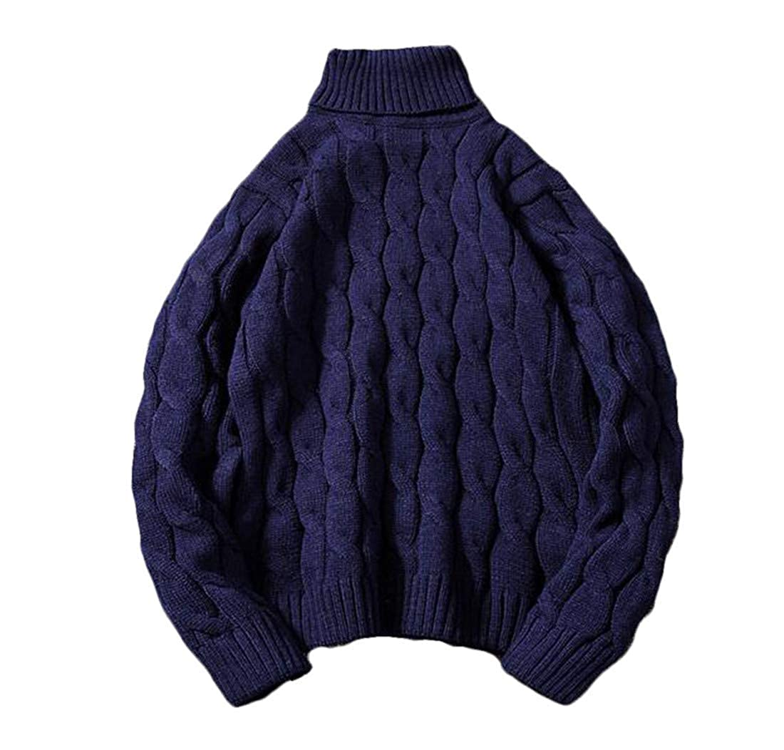 BU2H Men Casual Solid Color Turtleneck Twist Pullover Knitted Sweater