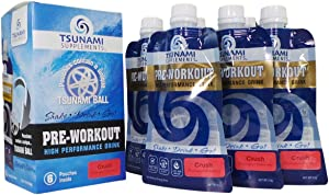 Tsunami Pre Workout Crush 6pk w/Citrulline Beta Alanine L-Theanine Caffeine Arginine High Performance Drink