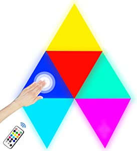 Triangle Wall Lights Smart LED Light Panels with Remote Control,Modular Touch Sensitive RGB Wall Decor Night Light DIY Geometric Splicing Colorful Quantum Light Blocks for Gaming Setup Bedroom,6 Pack