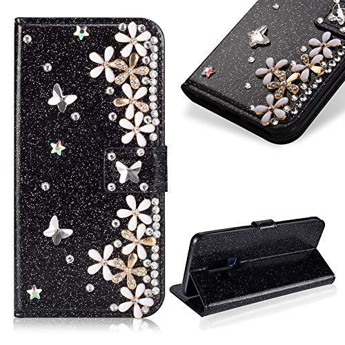 - Case for Galaxy S9 Plus,Cistor Luxury 3D Handmade Diamond Crystal Pearl Glitter Flower Butterfly Wallet Case for Samsung Galaxy S9 Plus,PU Leather Stand Flip Case with Card Slot Magnetic Closure,Black