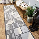 CUSTOM CUT 22-inch Wide by 10-feet Long Runner, Silver Grey Boxes Geometric Non Slip, Non-Skid, Rubber Backed Stair, Hallway, Kitchen, Carpet Runner Rug - Choose your Width by Length