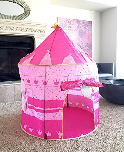 pink princess castle tent portable play tent for girls indoor outdoor use water. Black Bedroom Furniture Sets. Home Design Ideas