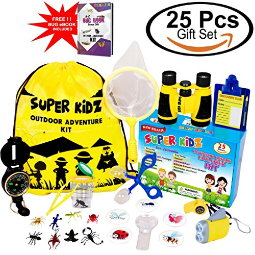 Outdoor Set for Kids 25 Pcs Value Pack - Binoculars, Flashlight, Compass, Pretend Play Fun & More. Nature Explorer Toys Kit for Playing Outside, Camping, Bird Watching Adventure for Boys & Girls by SUPER KiDZ
