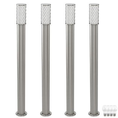 4 feux de stand en acier inoxydable lampes d'extérieur lampes dans l'ensemble, y compris les ampoules LED