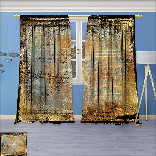 AmaPark Thermal Insulated Grommet Unlined Window Curtains grunge framed film background Set of Two Panels108
