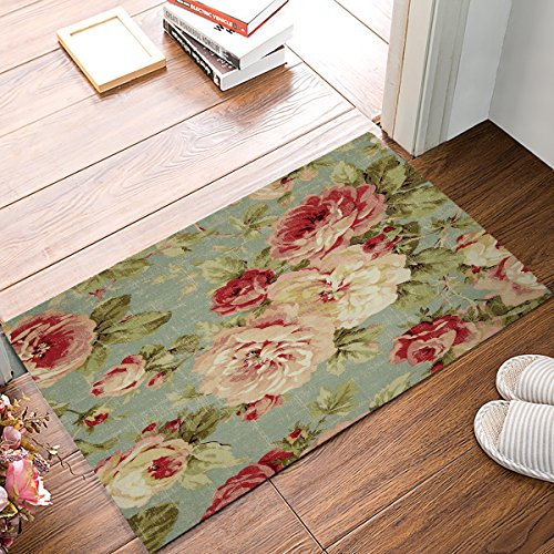 ALAGO Vintage Rose Floral Doormats Entrance Front Door Rug Outdoors/Indoor/Bathroom/Kitchen/Bedroom/Entryway Floor Mats,Non-Slip Rubber,Low-Profile