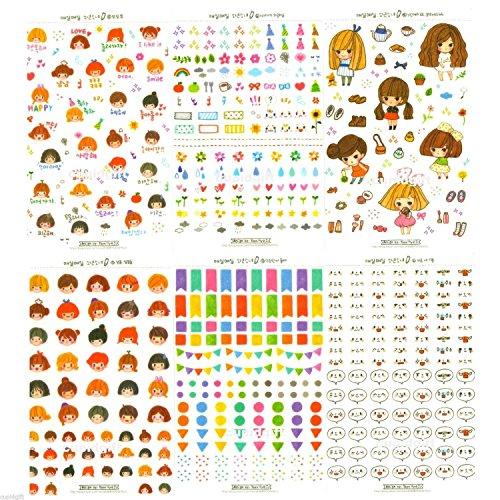 Molang Sticker Ver.1 ~ 3 - Cute Rabbit Charactor Diary Scrap Book Scrapbooking Decor Decoration 6 Sheets Lot Korean Stationery (Molang + Everyday Boy & Girl)