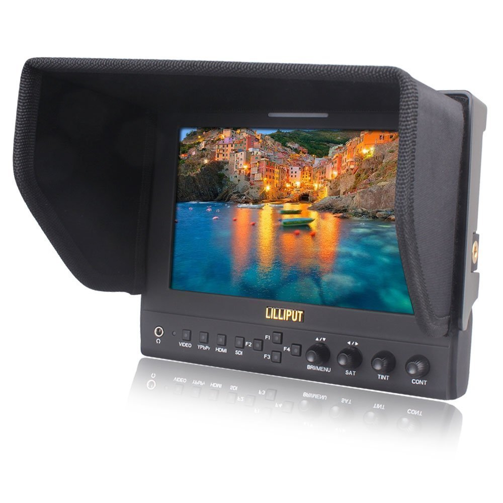 LILLIPUT 663/O/P/S2(663/S2) 3G-SDI In&out HMDI Output 7''LED IPS 800:1 Contrast w/SuitCase+folding Sun Shade Cover for DV DSLR Video Camera Such As Canon 500D 600D 1100D 60D 5DII SONY Camera by VIVITEQ INC by Lilliput