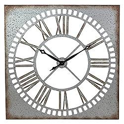 Aspire Ashbury Square Metal Wall Clock, Silver