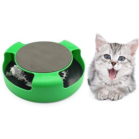 Leegoal Juguete Interactivo para Gatos Mascotas | Ratón Interior | Fondo Antideslizante | Rascador Arriba |