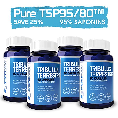 4x Sports Food Tribulus Terrestris - 95% Saponins, 80% Protodioscin - 1000 mg x 90 Capsules Bulgarian Extract - Natural Testosterone & Libido Booster for Men - High Strength Organic Herbal Extract