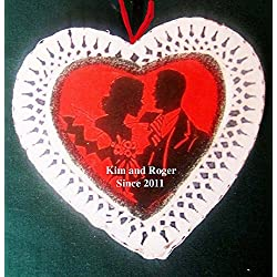 Couple Valentine Personalized Ornament Gift Handcrafted Wood, Gift, Lace Heart, Husband Wife, Romantic Card, Boyfriend Gift Wedding Favor