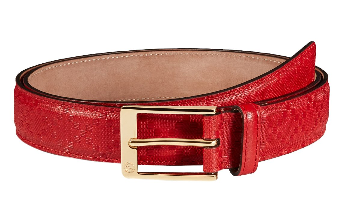 Gucci GG Red Diamante Leather Square Buckle Belt, 38, Red