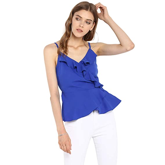 8a8a659d743 Spotstyl Blue Ruffles Sleeveless top for Women Western Casual Latest Summer  2019 Women Tops Western Tops for Women Styish Fancy Women Apparel Clothing  ...