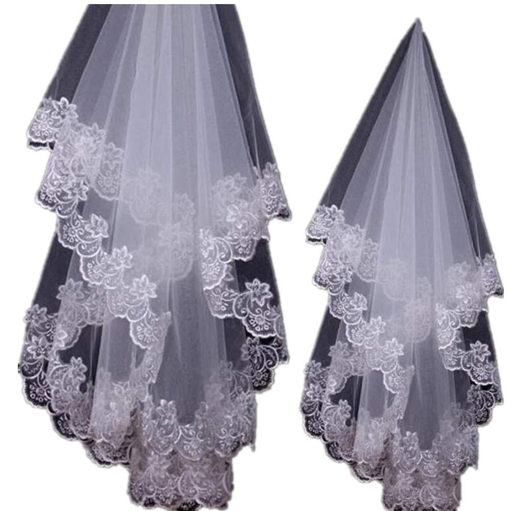 1.5M Elegent Simple Lace Appliques Wedding Veil One Size White Ivory Bridal Veil
