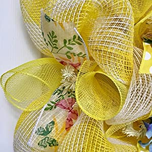 Bumble Bee Floral Spring Summer Deco Mesh Wreath 5