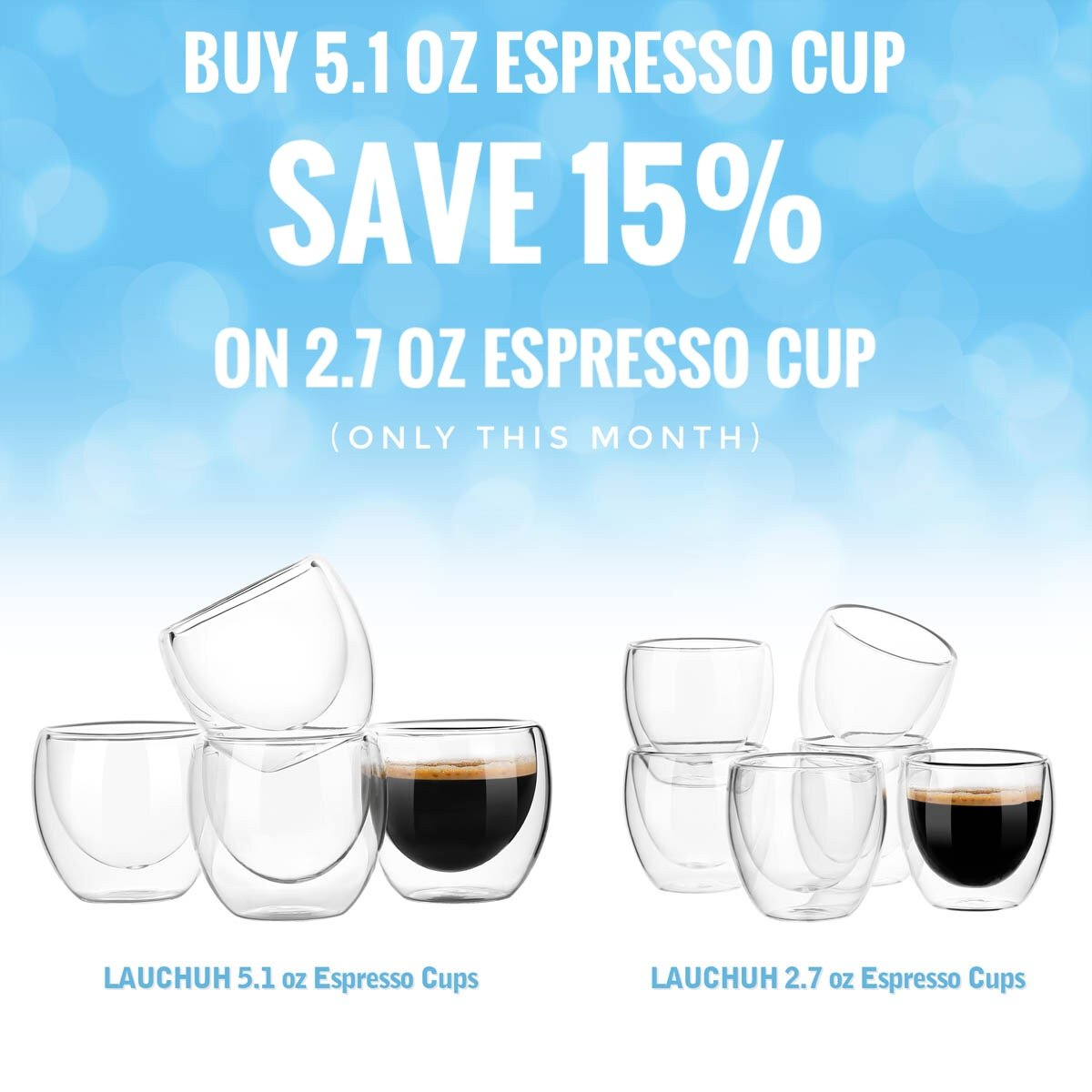 Espresso Glass Shot Cup Double Wall Thermo Insulated, 5.1 ounces(150ml) Set of 4 by LAUCHUH (Image #4)