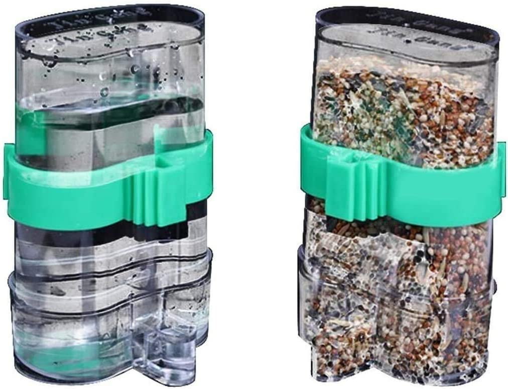 2 pcs Automatic Bird Waterer Feeder, Birds Clear Dispenser Feed, Bird Feed Water Dispenser