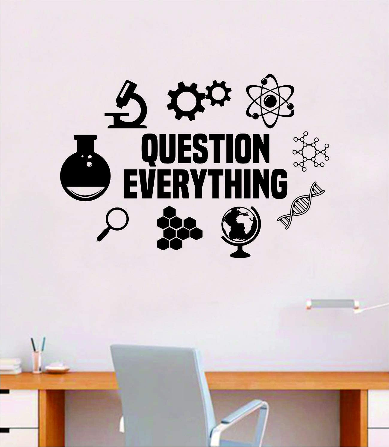 Question Everything V2 Science Wall Decal Sticker Vinyl Art Room Decor Decoration Teen Quote Inspirational Boy Girl Baby Chemistry School Teach Class College Smart Atom DNA Earth Gears Molecule Geek