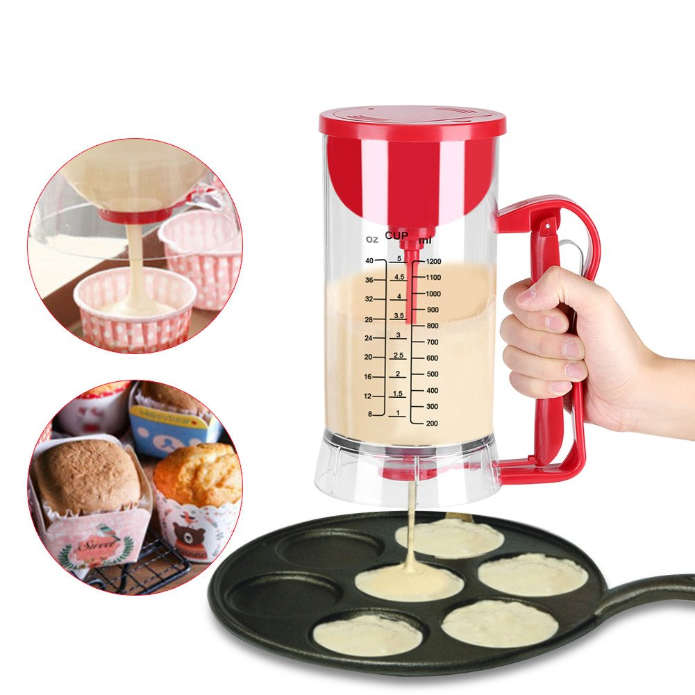 Pancake Cupcake Batter Dispenser, Batter Mixer Dispenser Maker Machine 1200ML Cake Batter Dispenser and Mixing System Dioche