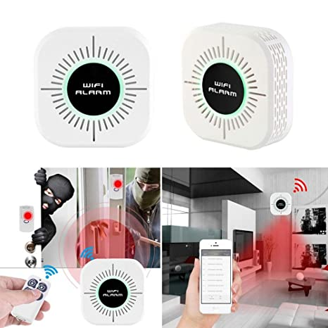 Aolvo Detector de Movimiento PIR con Alarma Inteligente y inalámbrico, Sistema de Alarma de Seguridad para el hogar con Sistema de Control de Aplicación con ...