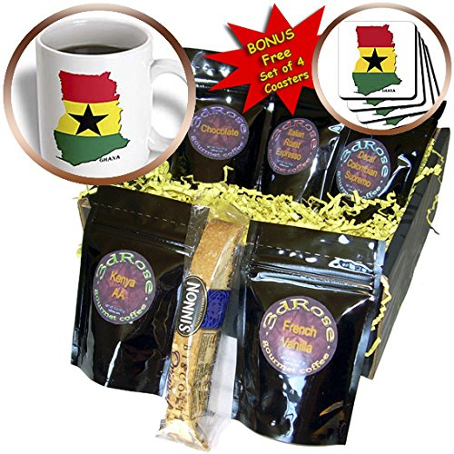 Sandy Mertens Flags of the World - Flag of Ghana Map - Coffee Gift Baskets - Coffee Gift Basket (cgb_211312_1)