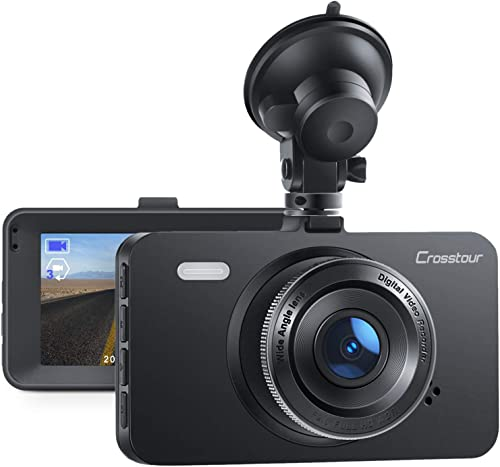 Dash Cam, Crosstour 1080P Car DVR Dashboard Camera Full HD with 3 LCD Screen 170 Wide Angle, WDR, G-Sensor, Loop Recording and Motion Detection CR300