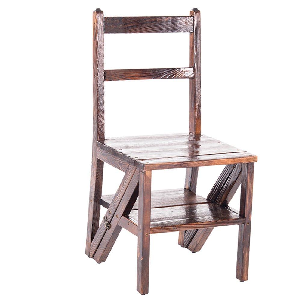ZCJB Tabouret d'échelle Ménage Plier Escalier Chaise En Bois Massif Échelle Chaise À Double Usage Tabourets Escabeaux