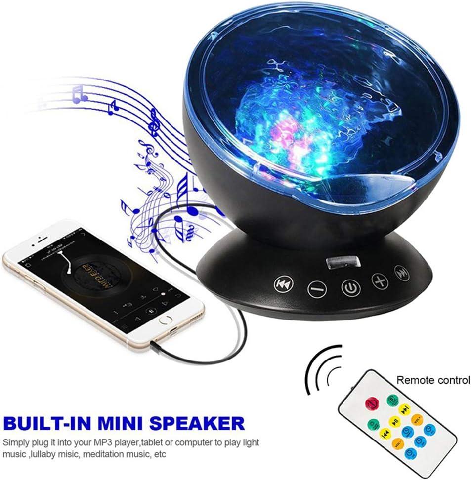 Nachtlichter XDLUK Ozean Wellen Projektor 12 LED 7 Farben Eingebautem Musik Player Projektionlampe f/ür Wohnzimmer Schlafzimmer Schwarz