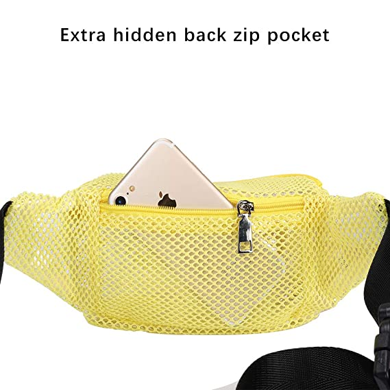 a847bb207be3 LOPHORINA Mesh translucent Fashion Waist Bag Water Resistant Adjustable  Fanny Pack Unisex Yellow