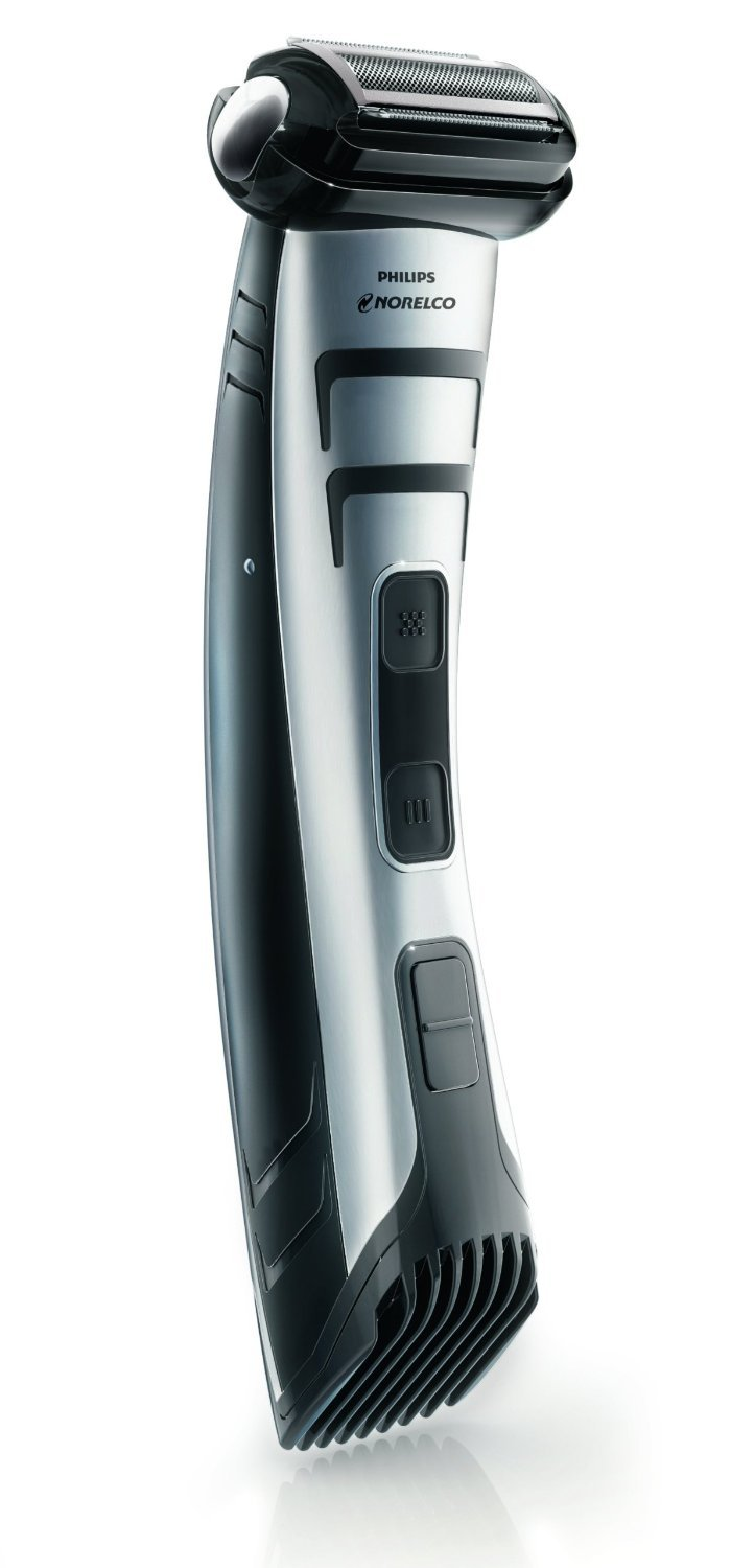 Norelco WASHABLE Men's Bodygroomer with Electric Shaver & Hair Trimmer, 5 Length Settings and Battery Status Indicator, Foldable Stand Included