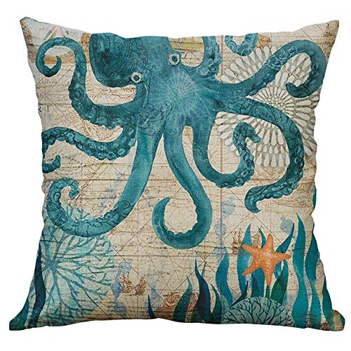 Littay Marine Life Coral Sea Turtle Seahorse Whale Octopus Cushion Cover Pillow Cover 17.72