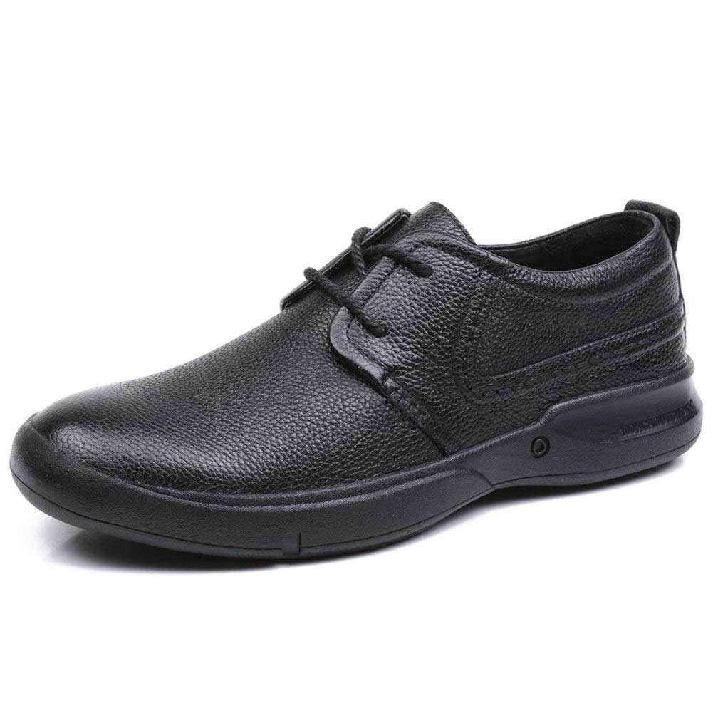 Fashion Wild Solid Color Flat Round Toe Low Top Genuine Leather Wear-Resistant Rubber Sole Loafers for Men Business Casual Shoes Lace up Super Cost-Effective (Color : Black, Size : 8.5 M US) by KELITA-SHOES