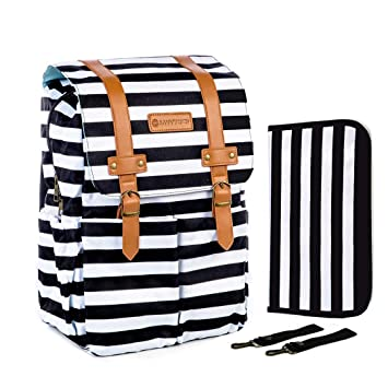 SavvyMami Striped Diaper Bag Backpack for Mom - Bags for Stylish Moms – Large  Black and b523bf655c17c