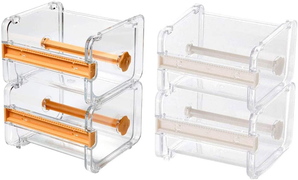 4pcs HomDSim Washi Tape Dispenser Cutter,Roll Tape Holder Organizer,Masking Tape Desktop Tape DIY Sticker Roll Tape Cutter Holder Storage Yellow + Beige